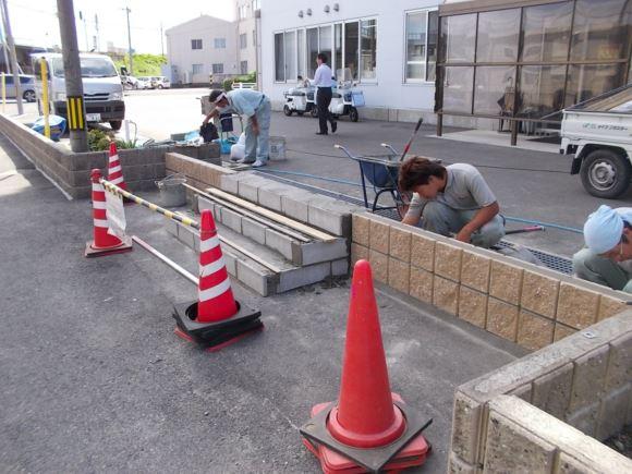 水害対策でのブロック積み工事実例