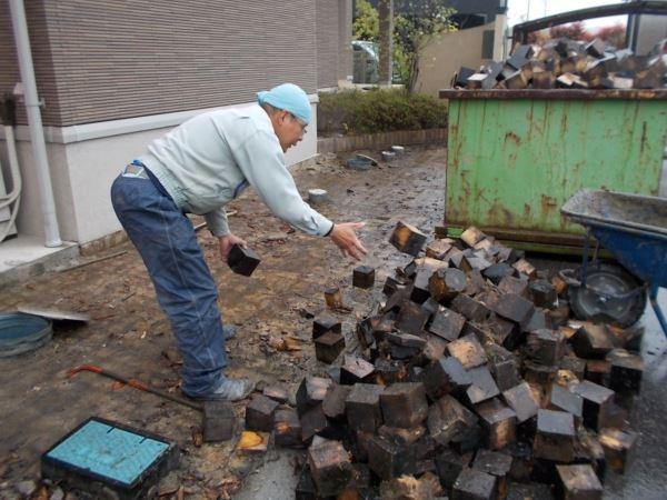 木レンガを撤去した施工事例