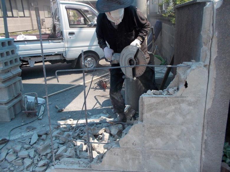 ブロック塀の修理修繕、事故による破壊・欠損の復旧工事事例