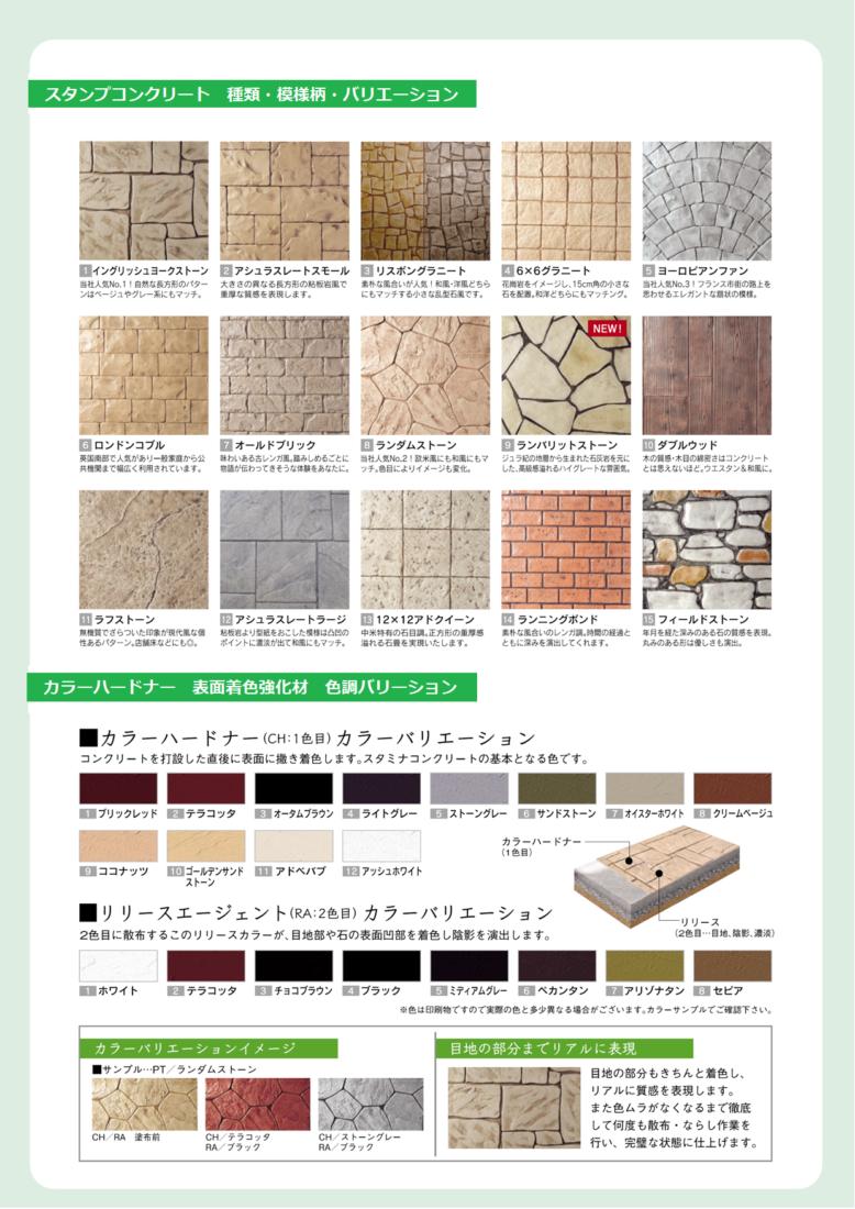 スタンプコンクリート 種類