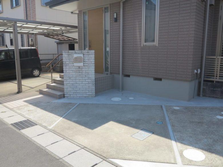 1台用駐車場から2台用駐車なり満足された工事事例