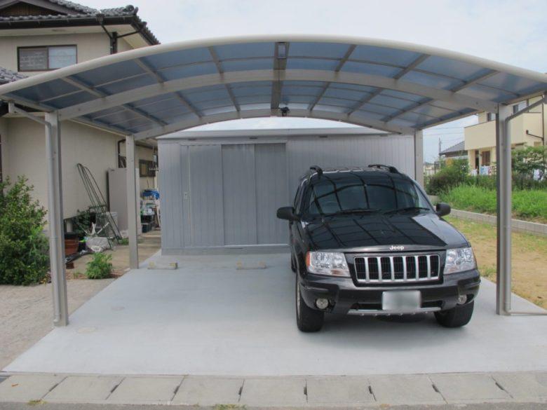 2台用カーポート、大型物置、土間コンクリートでお庭がスッキリ快適生活